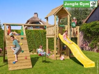 Jungle Gym mansion climb with yellow slide in garden