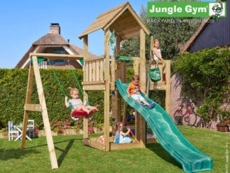Jungle Gym mansion 1 swing with dark green slide in garden